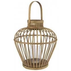 Ib Laursen Lanterne bambus åben flet m glasindsats