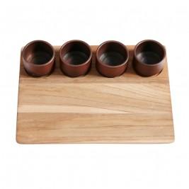 Muubs Tapas quatro teak/terracotta L:33 B:25 H7,5cm