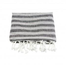 Meraki Hammam håndklæde sort m hvid strib stor