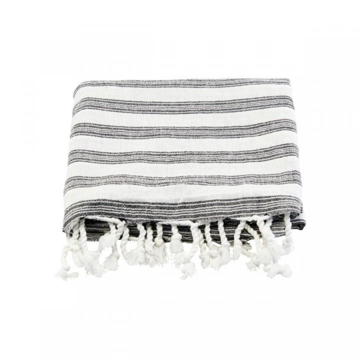 Meraki Hammam håndklæde hvid m sort strib stor